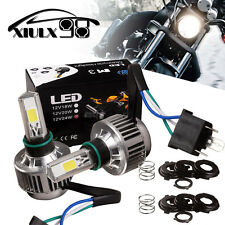 2X H4 Hi/Lo beam Headlight Front Lights HID White Motorcycle COB LED Bulb 6000LM