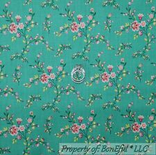 BonEful Fabric FQ Cotton Quilt VTG Aqua Teal Pink Green Flower Leaf Shabby Chic