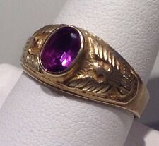 VINTAGE FINE ALEXANDRITE DOUBLE EAGLE  UNISEX RING IN 10K GOLD - SIZE 10.5