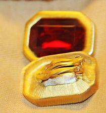 VINTAGE KENNETH J LANE RUBY GLASS GOLD FRAMED CLIP EARRINGS