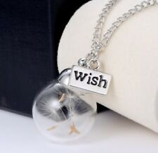 Real Dandelion Seeds Lucky Glass Wishing Bottle Chain Necklace Pendant Wish