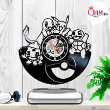 Wall clock made of vinyl record Pikachu Pokemon Figures Kids Children US located