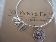 Wind and Fire LIVE  LOVE  LAUGH Charm Bangle Bracelet Silver Finish New  W/Box