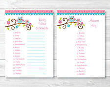 "Pink Owl Printable Baby Shower ""Baby Word Scramble"" Game Cards"