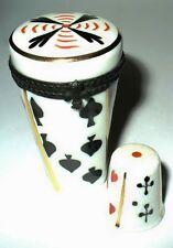 LIMOGES BOX - SEWING ETUI & THIMBLE - CARD SUITS - GAMING - GAMBLING - LAS VEGAS