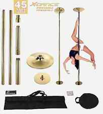 X-Dance 45mm Portable Pole Dance Titanium GOLD Fitness Exercise 2 Carry Bag NEW