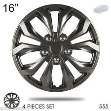 "New 16"" Hubcaps ABS Gunmetal Finish Performance Wheel Covers Set For Mazda 555"