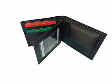 ALW Original Leather Money Wallet Purse for Men Gents with Card Slots - Black