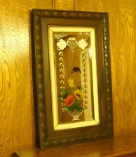 Antique Carved Oak Wood Frame Etched & Beveled Glass Mirror w/ Reverse Painting