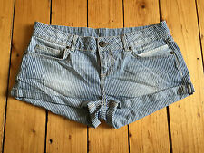 MISS SELFRIDGE LADIES DISTRESSED BLUE/WHITE DENIM HOTPANTS UK12