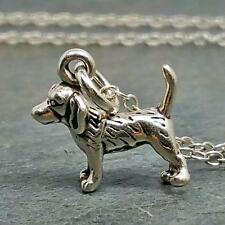 Tiny Beagle Necklace - 925 Sterling Silver - Dog Puppy Pendant Charm Jewelry NEW