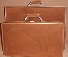 VTG HARTMAN LUGGAGE BROWN SUEDE SUITCASE SET OF 2, BRUSHED ALUMINUM HARDWARE