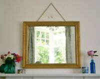 PRETTY VINTAGE ORNATE GILT WOOD FLOWER-EMBOSSED FRAMED WALL MIRROR FRENCH STYLE