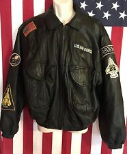 Vintage Cenci Men's Leather Motorcycle Bomber Style Jacket Military Motif Gift