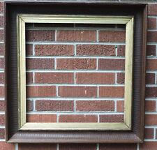 Antique RARE Walnut & Gold Gilded Liner SQUARE Fluted Frame 20 x 20 c1870-80s