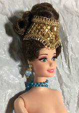 GENUINE COLLECTOR ROYAL BARBIE W/ DARK BROWN HAIR, STRAIGHT ARMS  AND JEWELRY
