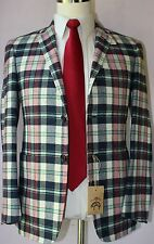 Brooks Brothers Black Fleece Pure CashmereThree Button Plaid Sport Coat BB0 36 S
