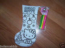 "HELLO KITTY Color Your Own 11"" Stocking With Markers Christmas Holiday Tree"