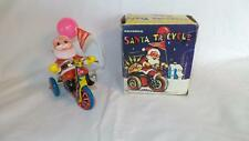 Vintage Mechanical SANTA TRICYCLE TIN WIND UP TOY With Balloon & Box