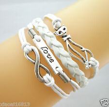 Multi-layer Infinity/Love/Cute Cat Charms Leather Braided Bracelet White