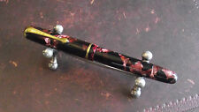 "Vintage ""Crown"" Fountain Pen-Red Marbled Piston Filler-14K Nib-Holland 1950's"