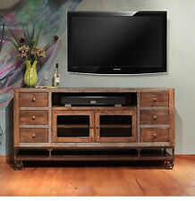 Industrial Rustic Reclaimed wood 76 inch TV stand Media Console on wheels
