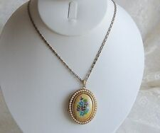 Vintage Classic AVON Hand Painted Porcelain Faux Pearl Scroll Chain Locket