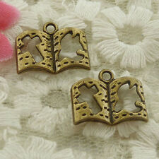 free ship 300 pieces bronze plated book charms 17x14mm H-4672