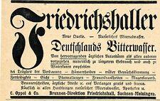 C. Oppel & Co. Friedrichhall BITTERWASSER Historische Reklame von 1899