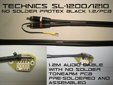 Technics SL-1200/1210 NO SOLDER Audio RCA Cable & Tonearm PCB ProteX Black 1.2m