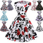 Women 50's Vintage Cap Sleeve Swing Pinup Housewife Dress Cocktail Party Dresses