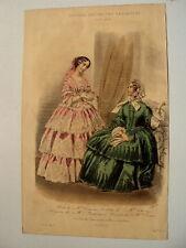 GRAVURE EN COULEUR 1854 JOURNAL DES JEUNES PERSONNES MODES TOILLETTES