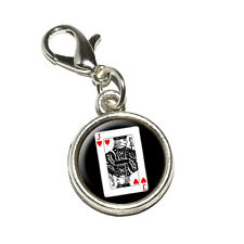 Playing Cards Jack of Hearts - Antiqued Bracelet Charm with Lobster Clasp