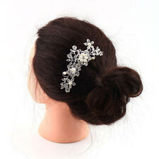 Diamond Bridal Wedding Flower Silver Plated Stunning Sparkling Hair Comb Pin  FT