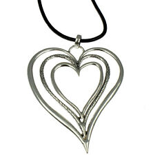 Lagenlook burnished silver huge triple heart pendant leather long necklace