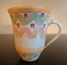 MACKENZIE CHILDS HEATHER PATTERN MUG CUP 4 3/4''  VERY GOOD CONDITION WITH CHIP