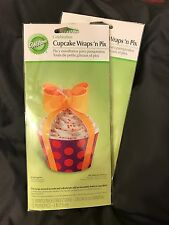 Wilton•Celebration Bow Cupcake Wraps/Picks•2-12 ct.packs=24•Purple/Red Polka Dot