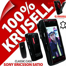 Krusell Classic Case Black Genuine Leather Cover + Clip for Sony Ericsson Satio