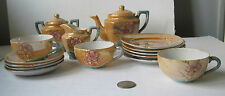 Antique Luster Ware Toy Tea Set/Peach & Blue Floral/Bird Pattern/Good Condition