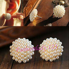 New Women Beautiful White Beads Pearl Mushroom Gold Plated Earrings Ear Studs YX