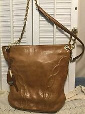 TAHARI Vintage Whiskey Brown Leather Cross Body Handbag Gold Tone Chain Hardware