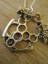 USA Artist Handmade Tibetan Silver Brass Knuckles with Bow Earrings