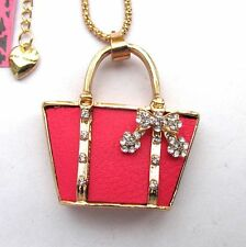 Betsey Johnson Brillia crystal Red leather Bags pendant Necklace#328L