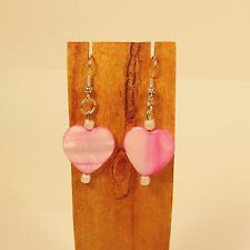 "1 1/4"" Handmade Pink Shell Heart Shaped Valentine Dangle Earring FREE SHIPPING!"