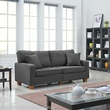 Classic Dark Grey 73 inches Love Seat Linen Fabric Living Room 2 Accent Pillows
