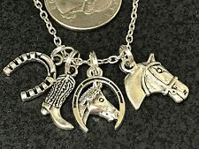 "Western Horseshoe & Horse Charm Tibetan Silver with 18"" Necklace F36"
