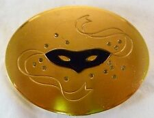 """Large Dorothy Gray Oval """"Savoir Faire"""" Compact w/ Black Mask and Rhinestones"""
