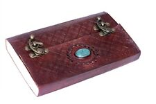 Handmade Leather Journal Turquoise Stone Diary Sketchbook Notebook Artist 9x5