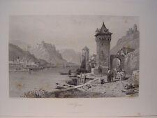 Alemania. «St. Goar»  Pintó Thomas Leeson Rowbotham.(1783-1853) Grabó Jean Jacqu