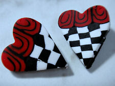 Fimo Heart Buttons Red White Black Check Lot of Two (2) 1""